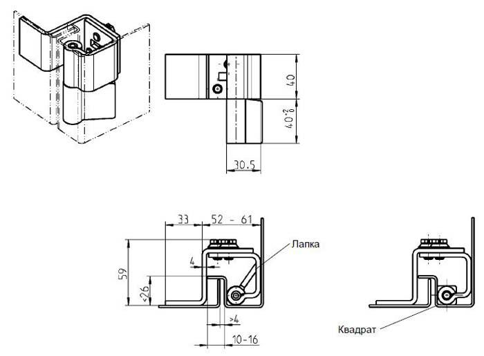 схема установки скрытых петель